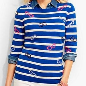 Talbots Striped Sequin Glasses 3/4 Sleeve Sweater
